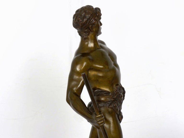 """""""Le Trevail"""" French Antique Bronze Sculpture of Blacksmith by Maurice Constant For Sale 13"""