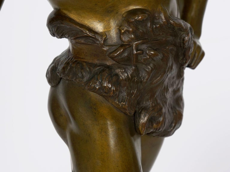 """""""Le Trevail"""" French Antique Bronze Sculpture of Blacksmith by Maurice Constant For Sale 15"""