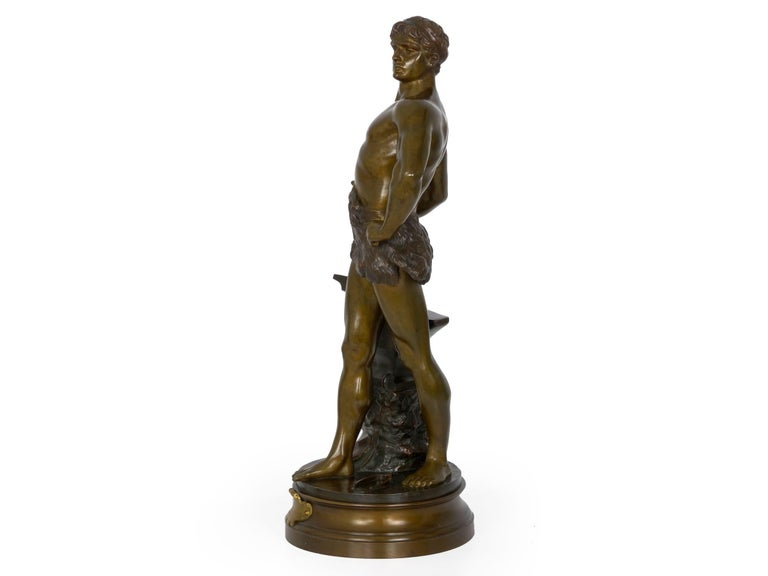 """Romantic """"Le Trevail"""" French Antique Bronze Sculpture of Blacksmith by Maurice Constant For Sale"""