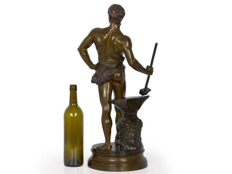 """""""Le Trevail"""" French Antique Bronze Sculpture of Blacksmith by Maurice Constant In Good Condition For Sale In Shippensburg, PA"""