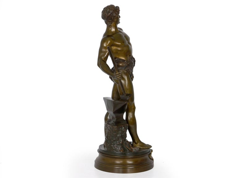 """20th Century """"Le Trevail"""" French Antique Bronze Sculpture of Blacksmith by Maurice Constant For Sale"""