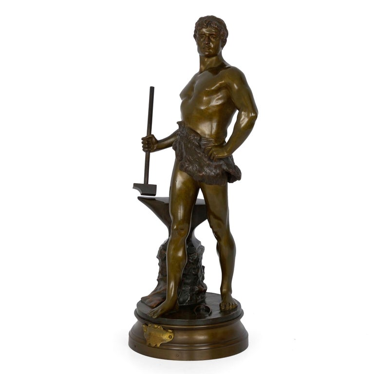 """""""Le Trevail"""" French Antique Bronze Sculpture of Blacksmith by Maurice Constant For Sale 1"""
