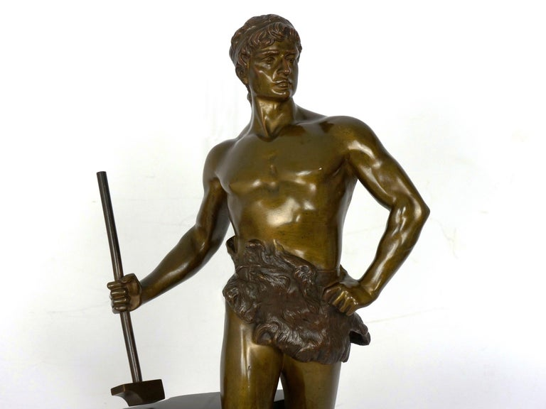 """""""Le Trevail"""" French Antique Bronze Sculpture of Blacksmith by Maurice Constant For Sale 2"""