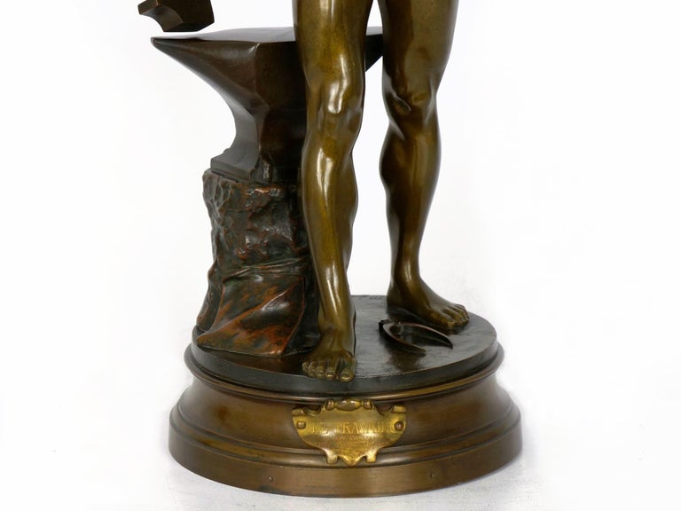 """""""Le Trevail"""" French Antique Bronze Sculpture of Blacksmith by Maurice Constant For Sale 3"""