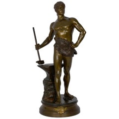 """Le Trevail"" French Antique Bronze Sculpture of Blacksmith by Maurice Constant"