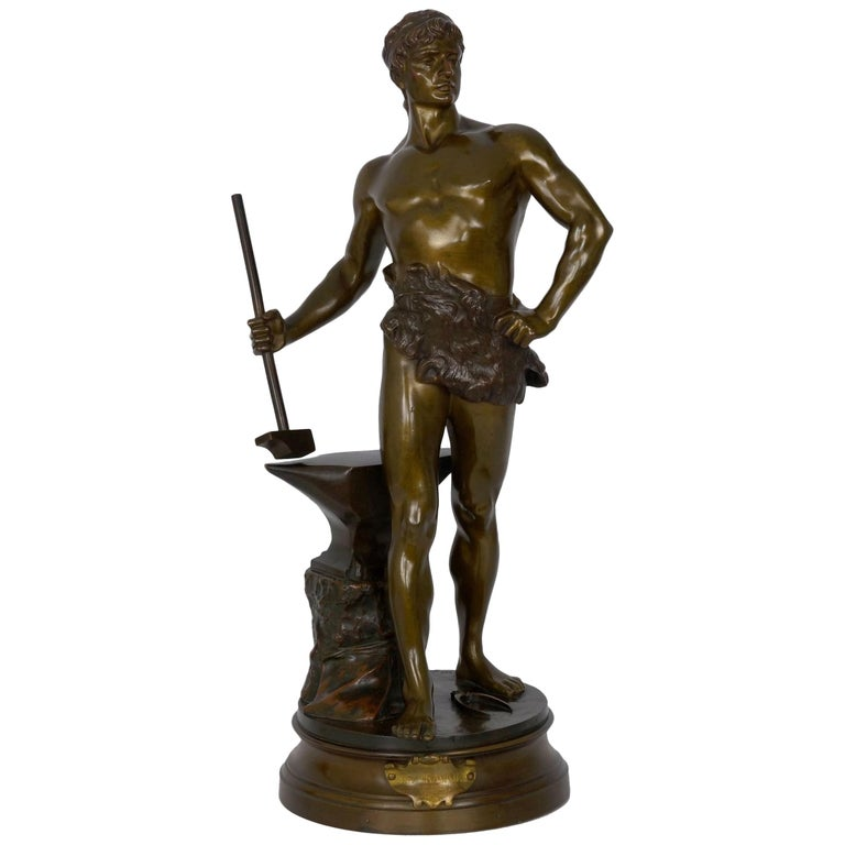 """""""Le Trevail"""" French Antique Bronze Sculpture of Blacksmith by Maurice Constant For Sale"""
