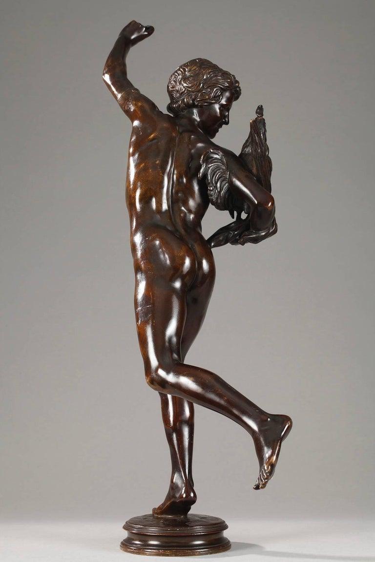 Patinated bronze sculpture titled Le vainqueur du combat de coqs (The Cock Fight Winner) by Alexandre Falguie`re (1831-1900). Signed on the base: A. Falguie`re. Foundry mark: Thie´baut fre`res (Paris, 1885-1894).   Alexandre Falguie`re was trained