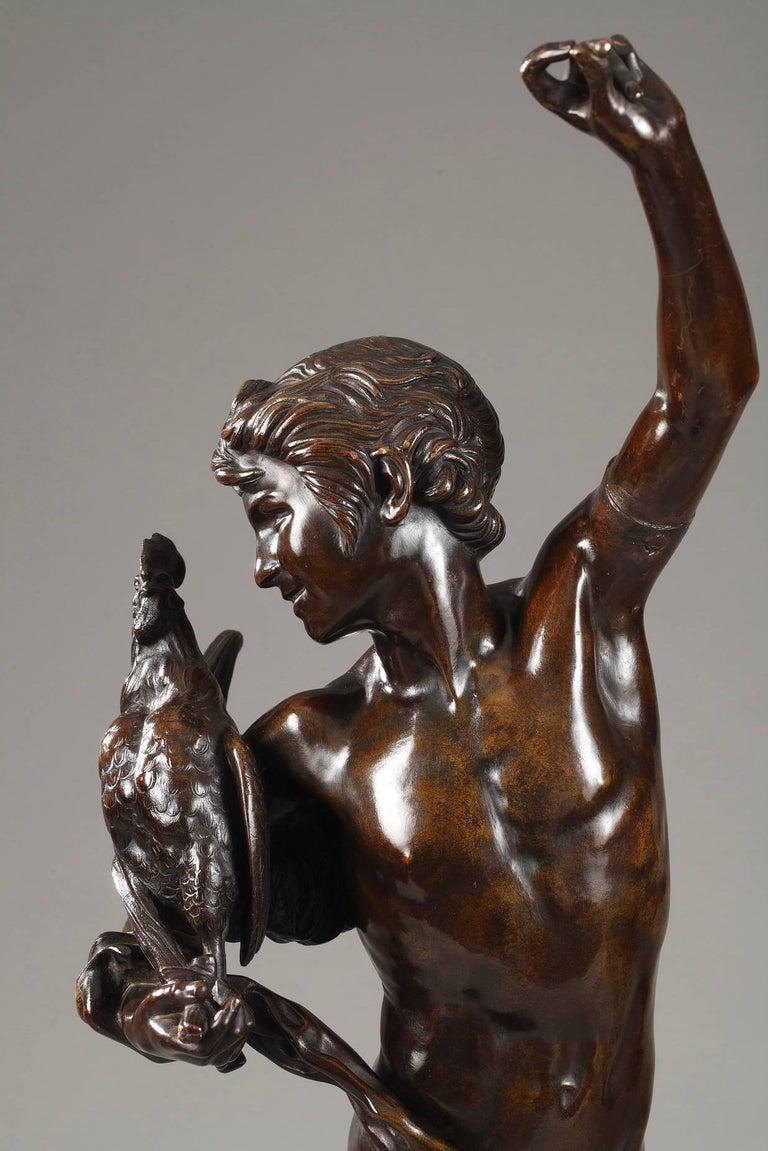 Bronze Le vainqueur du combat de coqs by Alexandre Falguière For Sale