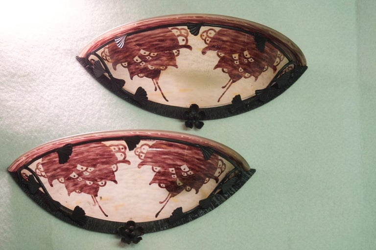 Art Deco Le Verre Francais Cameo Glass Pair of Sconces For Sale