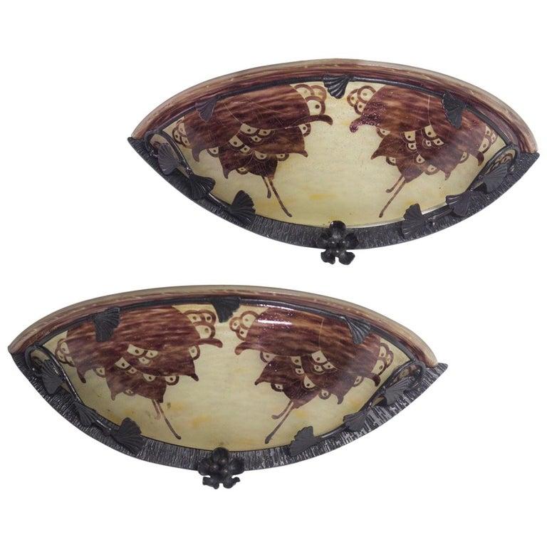 Le Verre Francais Cameo Glass Pair of Sconces For Sale