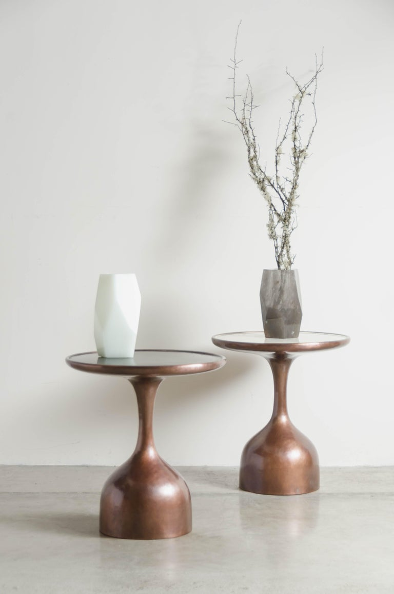 Contemporary Le Verre Table with Cream Lacquer Top by Robert Kuo, Hand Repousse, Limited For Sale