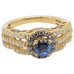 Le Vian 1 Carat Ceylon Sapphire Yellow Gold Bridal Ring