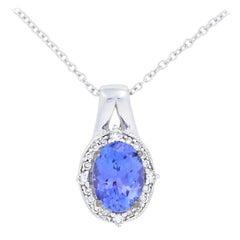 Le Vian 1.10 Carat Oval Tanzanite & Diamond Pendant Necklace, 14 Karat Gold Halo