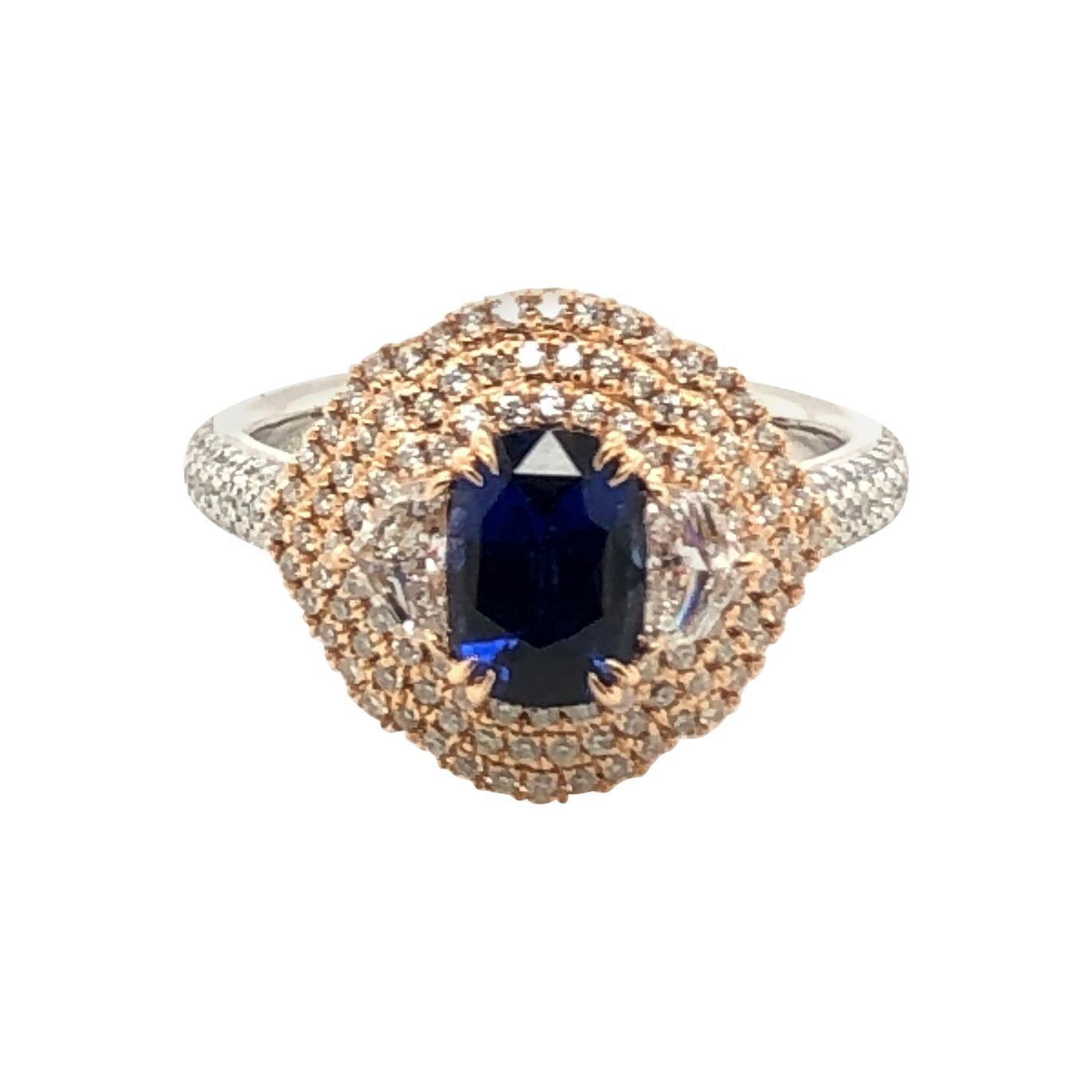 Le Vian 1.33 Carat Sapphire White Diamond Platinum Rose Gold Ring