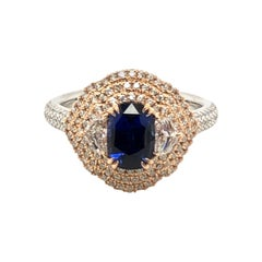 Le Vian 1.33 Carat Sapphire White Diamond Platinum Rose Gold Ring