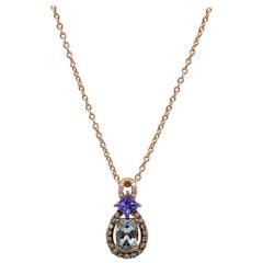 Le Vian 14 Karat Rose Gold Aquamarine, Tanzanite and Diamond Pendant Necklace