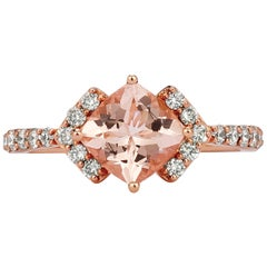 Le Vian 14 Karat Rose Gold Cushion Cut Pink Morganite ⅜ Carat Diamond Arrow Ring