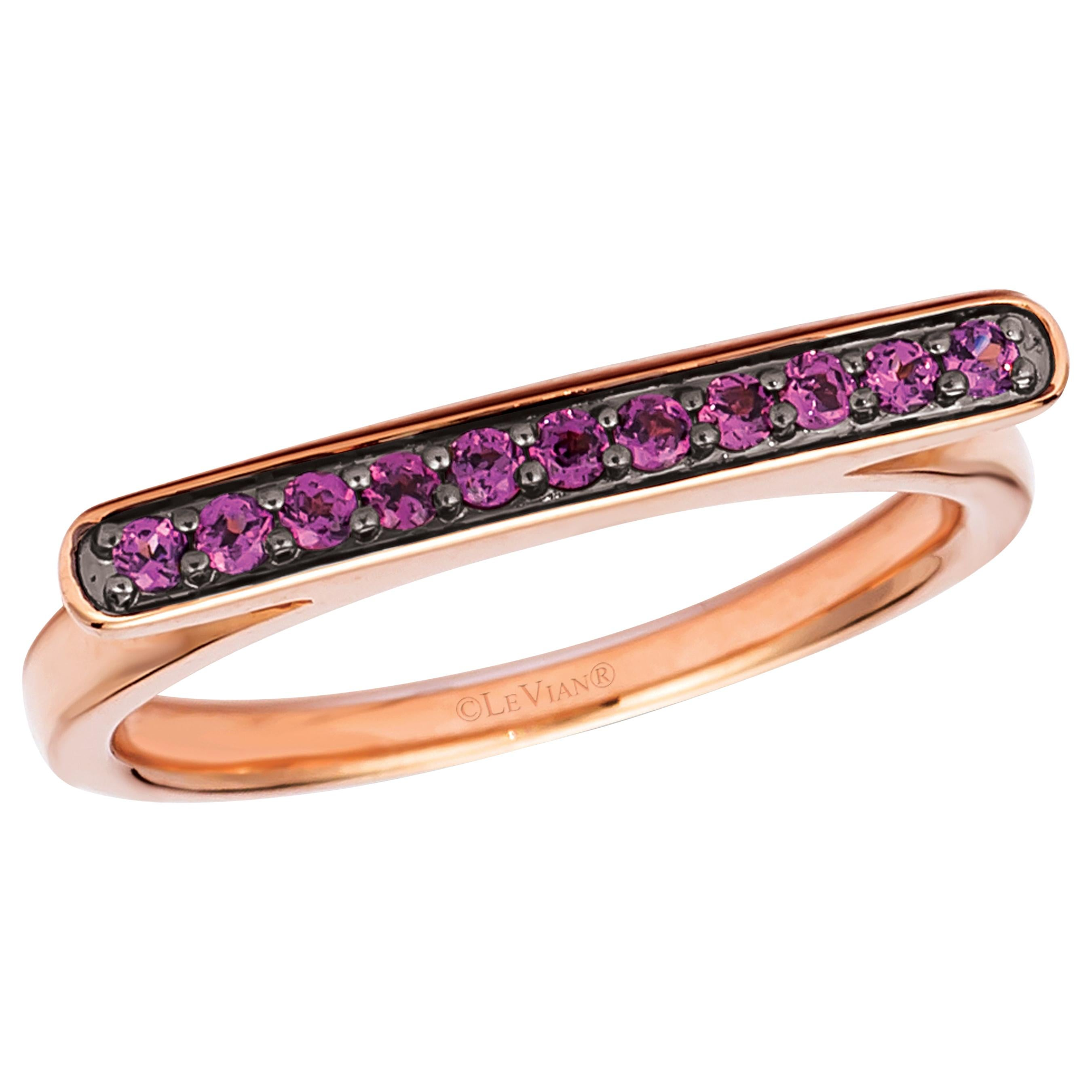 Le Vian 14 Karat Rose Gold Red Rhodolite Garnet Omega Shaped Ring