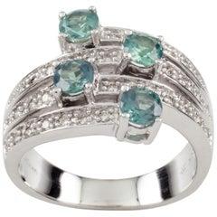Le Vian 14 Karat White Gold Diamond and Blue Stone Four-Row Ring