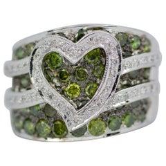 Le Vian 14 Karat White Gold Green Diamond and White Diamond Heart Shape Ring