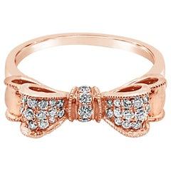 Le Vian 14 Karat White Vanilla Diamond Bow Shaped Rose Gold Ring
