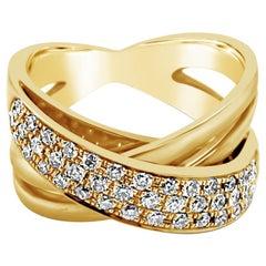 LeVian 14K Yellow Gold Vanilla White Diamond Authentic Gladiator Cocktail Ring