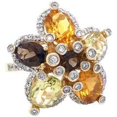 Le Vian 14 Karat Yellow Gold Citrine Quartz and .50 Carat Diamond Flower Ring