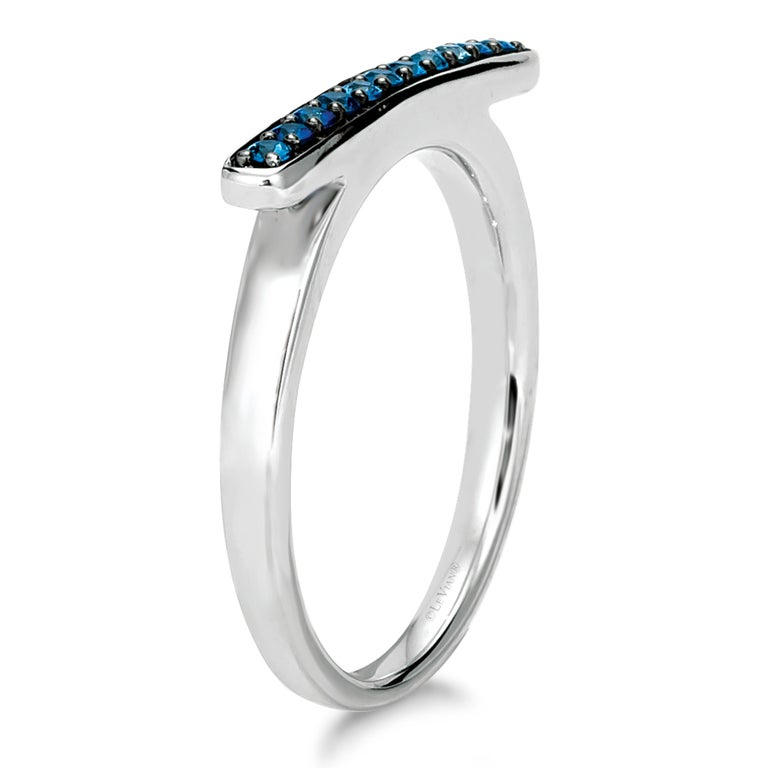 Le Vian 14K White Gold Blue Sapphire Omega Shaped Ring - Size 6-3/4 In New Condition For Sale In Great Neck, NY