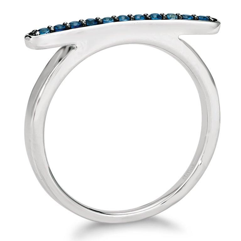 Women's Le Vian 14K White Gold Blue Sapphire Omega Shaped Ring - Size 6-3/4 For Sale