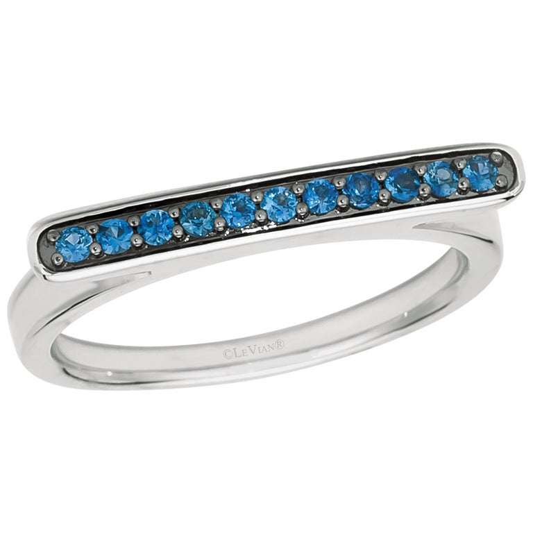 Le Vian 14K White Gold Blue Sapphire Omega Shaped Ring - Size 6-3/4 For Sale