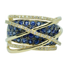 Le Vian 14k Yellow Gold Round Blue Sapphire and Vanilla Diamond Crossover Band