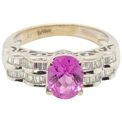 Le Vian 1.5 Carat Pink Sapphire White Gold Couture Ring