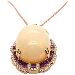 Le Vian 17 Carat Opal Rose Gold Pendant