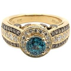 Le Vian 1.875 Carat Blue Zircon Yellow Gold Ring