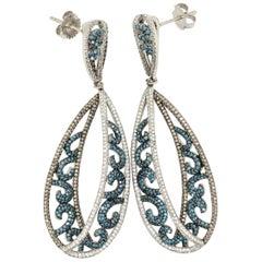 Le Vian 2 Carat Blue Diamond White Gold Earrings