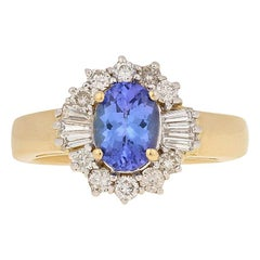 Le Vian 2.20 Carat Oval Cut Tanzanite and Diamond Ring 18 Karat Yellow Gold Halo
