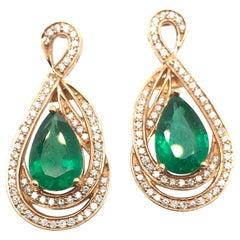 Le Vian 4 1/2 Carat Emerald Yellow Gold Earrings