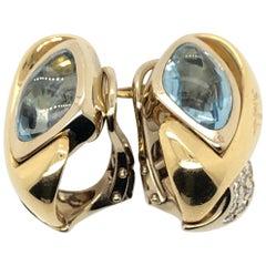 Le Vian 4 Carat Aquamarine Two-Tone Gold Earrings