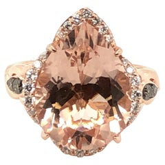 Le Vian 5 Carat Morganite Chocolate Diamond Rose Gold Ring