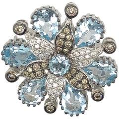 Le Vian 6.98 Carat Blue Topaz White Gold Pin