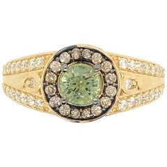 Le Vian 7/8 Carat Green Sapphire Yellow Gold Bridal Ring