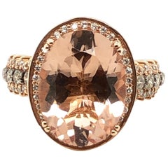 Le Vian 7 Carat Oval Morganite Chocolate Diamond Rose Gold Ring