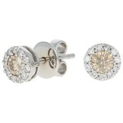 Le Vian .75 Carat Round Brilliant Diamond Halo Earrings, 14k Gold Pierced Studs