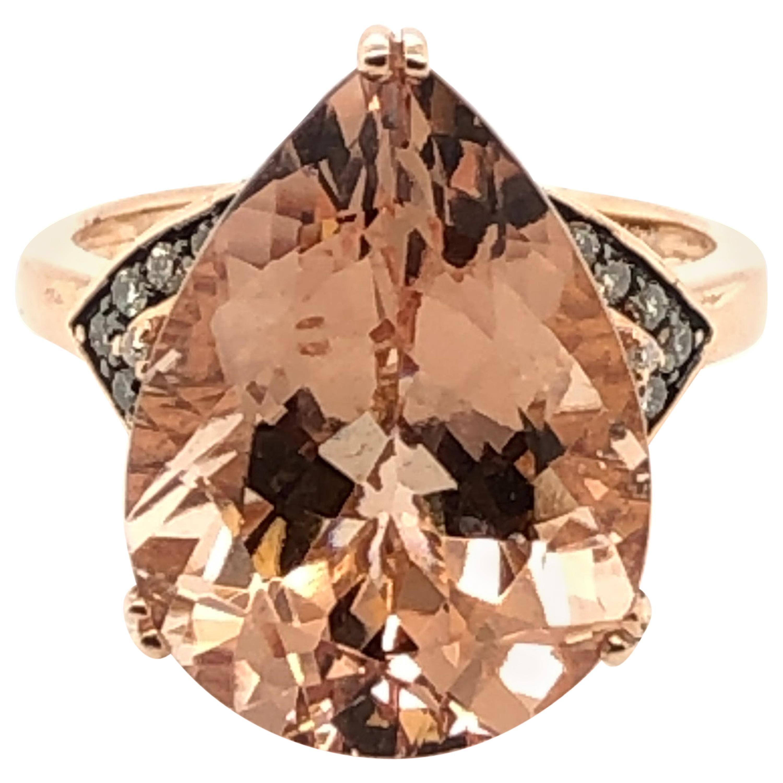 Le Vian 8 Carat Peach Morganite Rose Gold Ring