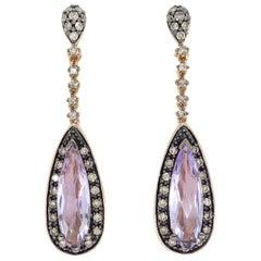 Le Vian Amethyst and Diamond Drop Earrings in Rose Gold