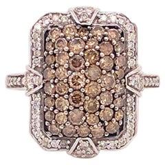 Le Vian Chocolate and White Diamond Vintage Frame Halo Ring