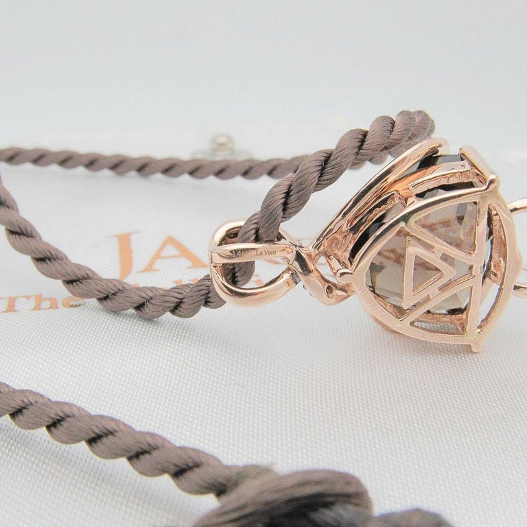 Le Vian CHOCOLATE COLLECTION Style: Chocolate Quartz pendant on Satin Cord Metal:  14KT Strawberry Rose Gold Size:  Necklace 18 Inches  / Pendant 1.5 X .5 inch  Total Carat Weight:  0.20 TCW Diamond Shape:  Vanilla & Chocolate Round Diamonds I /