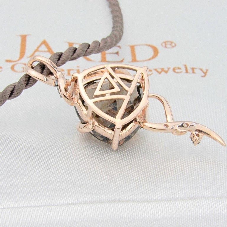 Le Vian Chocolate Diamond Pendant in Strawberry Rose Gold on Satin Cord Necklace In Excellent Condition For Sale In San Diego, CA