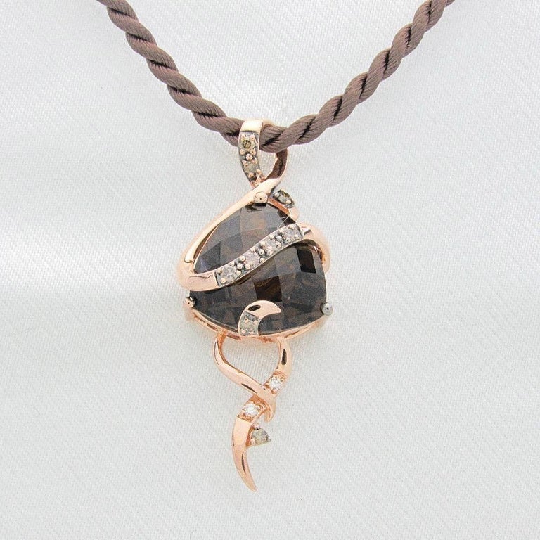 Le Vian Chocolate Diamond Pendant in Strawberry Rose Gold on Satin Cord Necklace For Sale 1