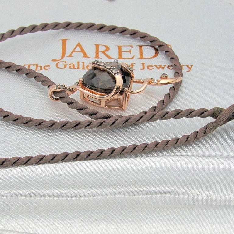 Le Vian Chocolate Diamond Pendant in Strawberry Rose Gold on Satin Cord Necklace For Sale 2